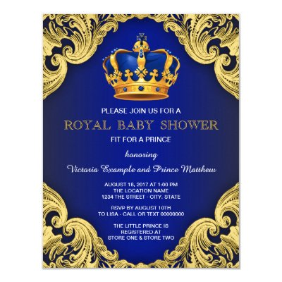 Royal Blue Gold Damask Prince Baby Shower Ethnic Card Zazzle Com