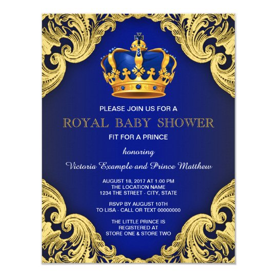 Fancy Prince Baby Shower Blue and Gold Card Zazzlecom