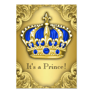 """Fancy Prince Baby Shower Blue and Gold 4.5"""" X 6.25"""" Invitation Card"""