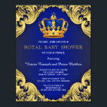 "Fancy Prince Baby Shower Blue and Gold Invitation<br><div class=""desc"">Beautiful royal blue and gold with blue and gold crown fancy royal baby shower invitation. This exquisite royal blue and gold prince baby shower invitation is easily customized for your event by simply adding your details in the font style and color,  wording and layout of your choice.</div>"