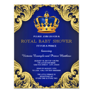 Great Fancy Prince Baby Shower Blue And Gold Invitation