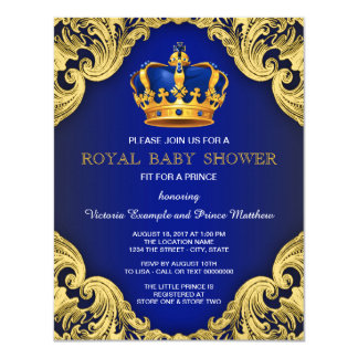 Fancy Prince Baby Shower Blue and Gold 4.25x5.5 Paper Invitation Card