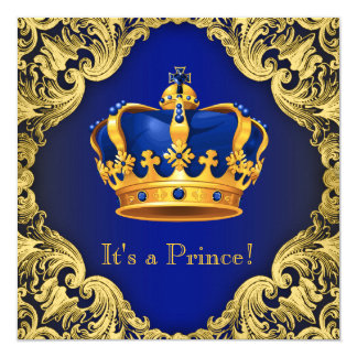 Fancy Prince Baby Shower Blue Gold Card