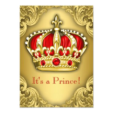 Toddler & Baby themed Fancy Prince Baby Shower Red and Gold Card