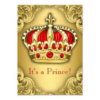 Fancy Prince Baby Shower Red and Gold Custom Announcement