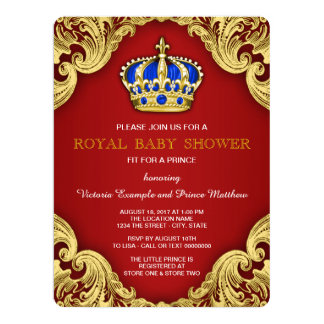 Fancy Prince Baby Shower Red Card