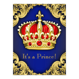 Fancy Prince Baby Shower Royal Blue Card