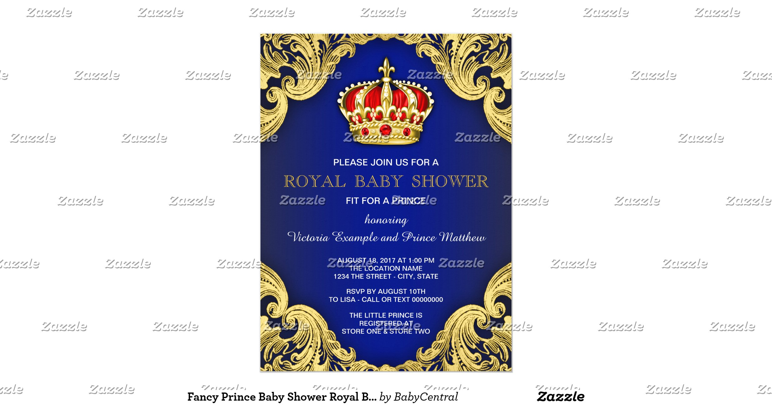 fancy prince baby shower royal blue paper invitation card