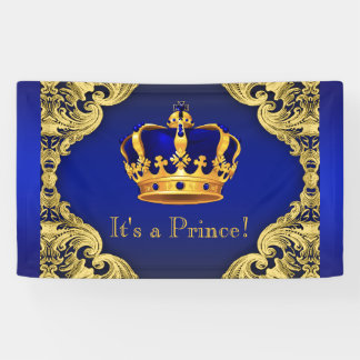 Fancy Prince Royal Blue Gold Crown Baby Shower Banner