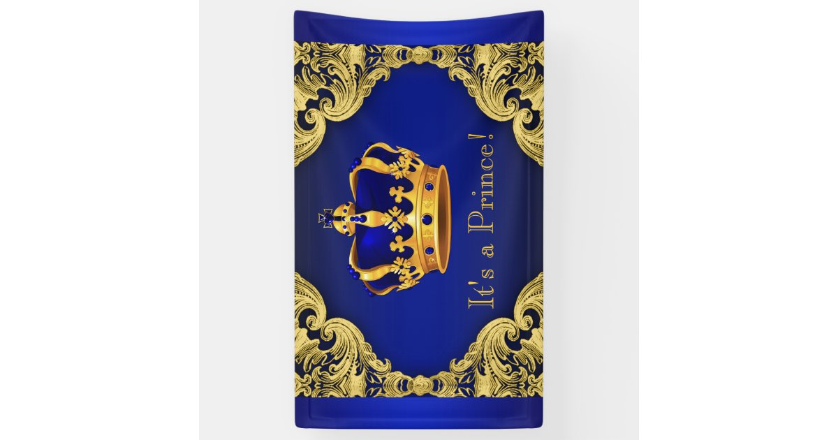 Fancy Prince Royal Blue Gold Crown Baby Shower Banner Zazzle