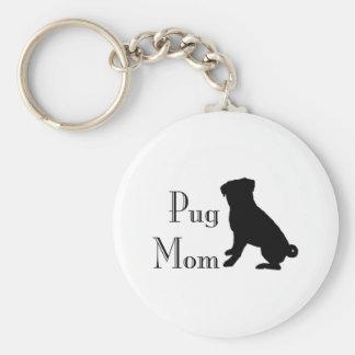 Fancy Pug Mom Keychain