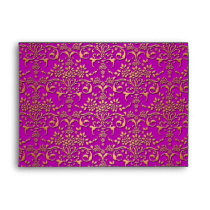 Fancy Purple and Gold Damask Pattern Envelope