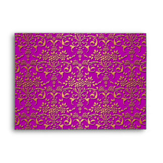 Fancy Purple and Gold Damask Pattern Envelope