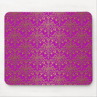 Fancy Purple and Gold Damask Pattern Mouse Pad