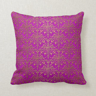 Fancy Purple and Gold Damask Pattern Throw Pillow