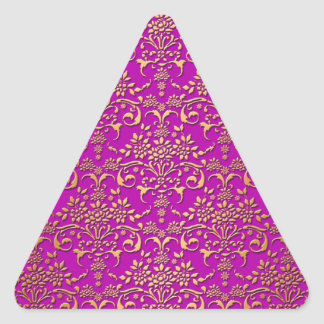Fancy Purple and Gold Damask Pattern Triangle Sticker