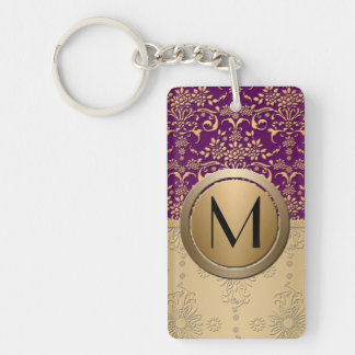 Fancy Purple and Gold Monogram Damask Pattern Keychain