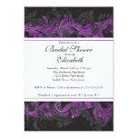 Fancy Purple Black Damask Bridal Shower Invitation