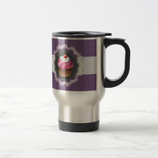 Fancy Purple Cupcake 15 Oz Stainless Steel Travel Mug
