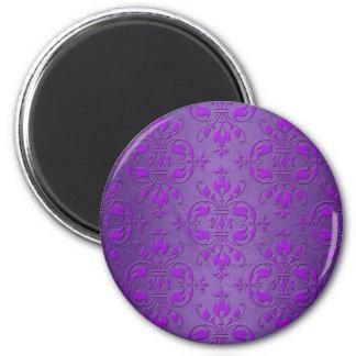 Fancy Purple Damask Pattern 2 Inch Round Magnet