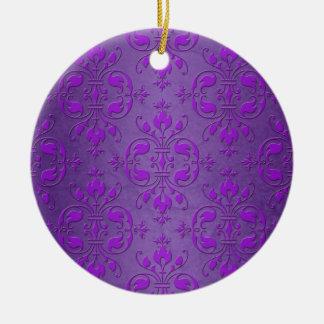 Fancy Purple Damask Pattern Ceramic Ornament