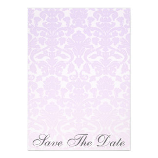 Fancy Purple Damask Save The Date Announcement