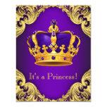Fancy Purple Gold Princess Baby Shower Card