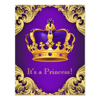 Fancy Purple Gold Princess Baby Shower Card