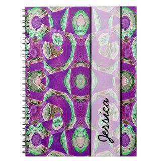 Fancy purple green mosaic pattern notebook