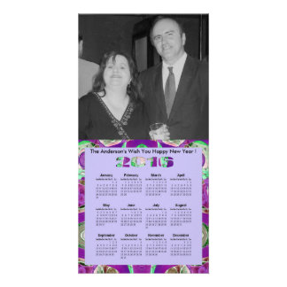 Fancy Purple Mosaic 2016 yearly Calendar Card