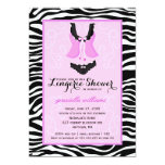 Fancy Purple Zebra Lingerie Shower Bachelorette 5x7 Paper Invitation Card