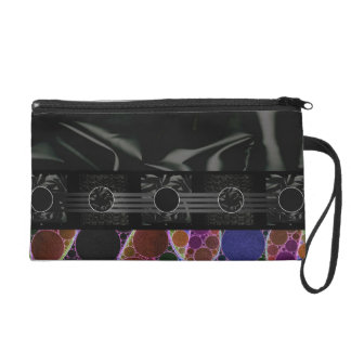 Fancy Rainbow Black Abstract Wristlet Clutches