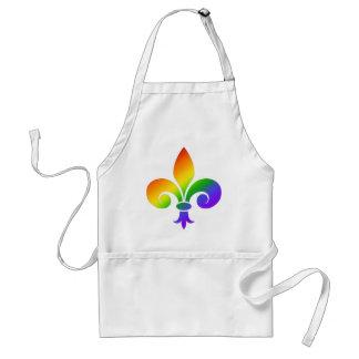 Fancy Rainbow Fleur de Lis Adult Apron