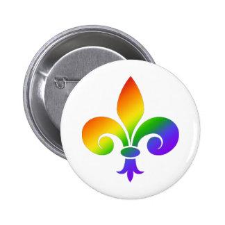 Fancy Rainbow Fleur de Lis Pinback Buttons