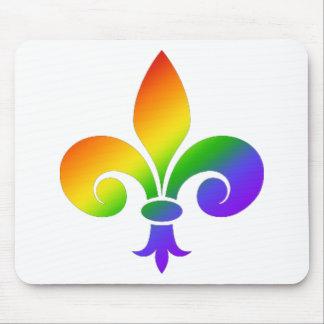 Fancy Rainbow Fleur de Lis Mousepad