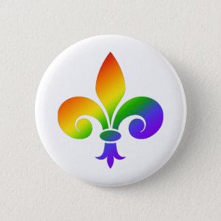 Fancy Rainbow Fleur de Lis Pinback Button