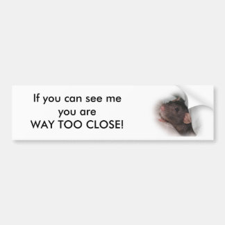 Fancy Rat Way Too Close Bumper Sticker Car Bumper Sticker