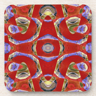 fancy red abstract coaster