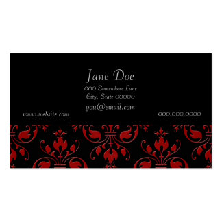 Fancy Red and Black Damask Double-Sided Standard Business Cards (Pack Of 100)