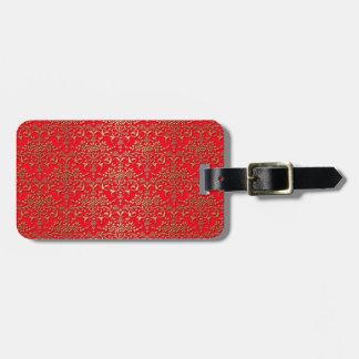 Fancy Red and Gold Damask Pattern Bag Tag