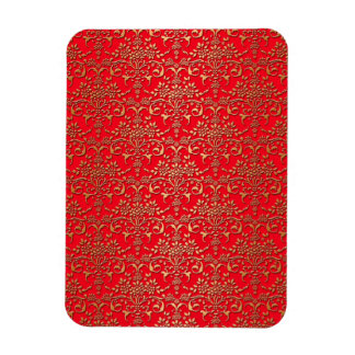 Fancy Red and Gold Damask Pattern Rectangle Magnet
