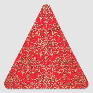 Fancy Red and Gold Damask Pattern Triangle Sticker