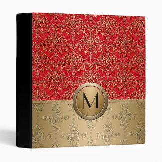 Fancy Red and Gold Monogram Damask Pattern 3 Ring Binder