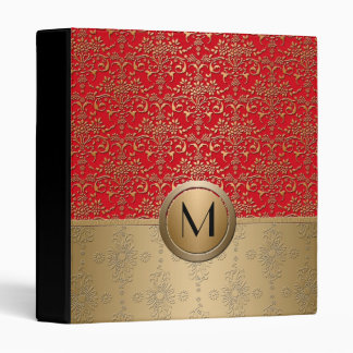 Fancy Red and Gold Monogram Damask Pattern 3 Ring Binders
