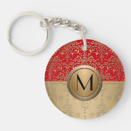 Fancy Red and Gold Monogram Damask Pattern Keychain