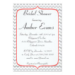Fancy Red and Gray Chevron Bridal Shower 5x7 Paper Invitation Card