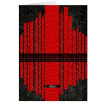Fancy Red Black Stripe Pattern Card