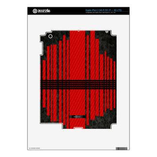 Fancy Red Black Stripe Pattern iPad 3 Skin