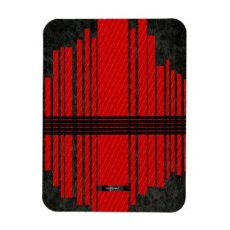 Fancy Red Black Stripe Pattern Magnet