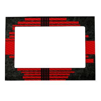 Fancy Red Black Stripe Pattern Magnetic Photo Frame